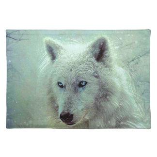 Blauw Eyed het Schilderen van de Wolf Kunstwerk Placemat