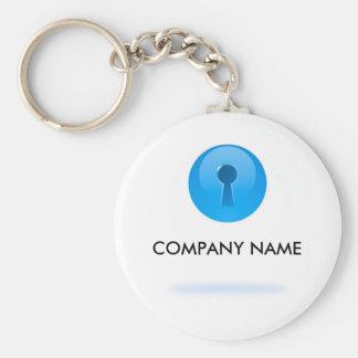 Blauw Gebied met Sleutelgat Klantgerichte Keychain Basic Ronde Button Sleutelhanger