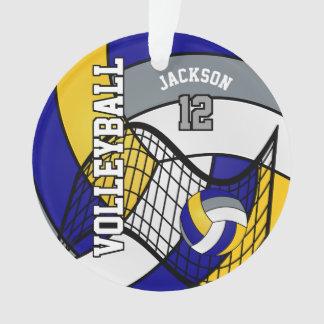 Blauw, Geel en Grijs Volleyball Ornament