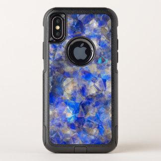 Blauw Geometrisch Patroon Gesimuleerd Glas OtterBox Commuter iPhone X Hoesje