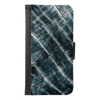 Blauw Geschilderd Hout Samsung Galaxy S6 Portemonnee Hoesje