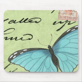 Blauw-gevleugelde Vlinder op Blauwgroen Briefkaart Muismat