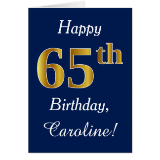 Blauw, Gouden 65ste Verjaardag Faux + De Naam van Briefkaarten 0