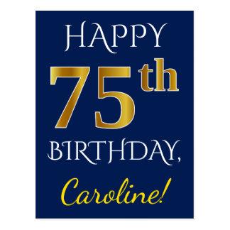 Blauw, Gouden 75ste Verjaardag Faux + De Naam van Briefkaart
