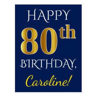 Blauw, Gouden 80ste Verjaardag Faux + De Naam van Briefkaart