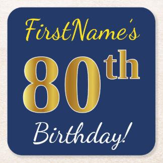 Blauw, Gouden 80ste Verjaardag Faux + De Naam van Vierkante Onderzetter
