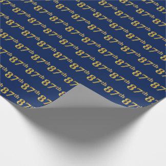 Blauw, Gouden 87ste (tachtig-Zevende) Gebeurtenis Cadeaupapier