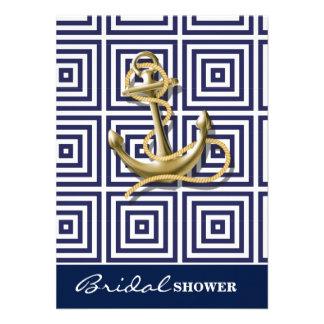 Blauw Grieks het patroon preppy zeevaartAnker van 11,4x15,88 Uitnodiging Kaart