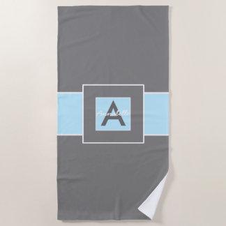 Blauw Grijs Gepersonaliseerd Monogram Strandlaken