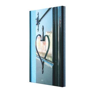 Blauw hart canvas afdruk