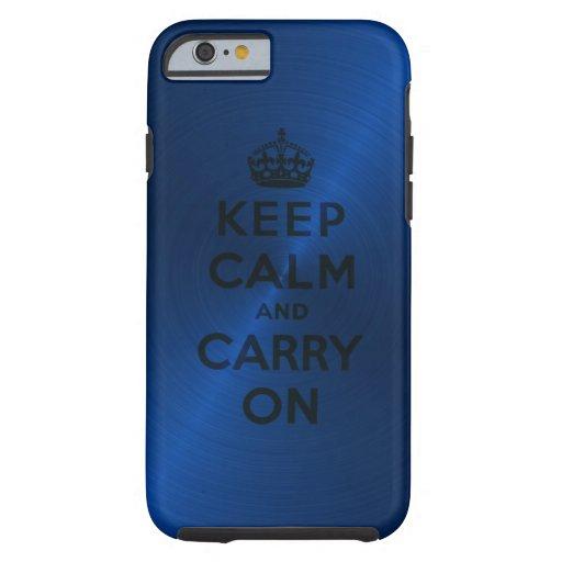 Blauw houd Rust en draag Tough iPhone 6 Hoesje