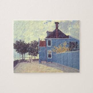 Blauw Huis in Zaandam door Claude Monet, Vintage Legpuzzel