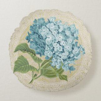 Blauw hydrangea hortensia & kant bloemen vintage rond kussen