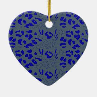 Blauw jaguarontwerp keramisch hart ornament