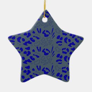 Blauw jaguarontwerp keramisch ster ornament