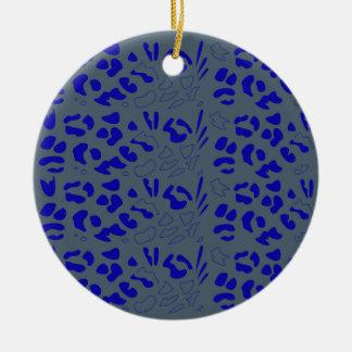 Blauw jaguarontwerp rond keramisch ornament