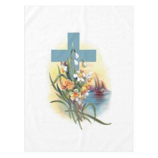 Blauw Kruis met Bloemen en Boten Tafelkleed