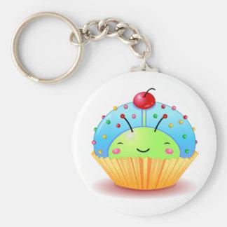 Blauw Lieveheersbeestje Cupcake Keychain Basic Ronde Button Sleutelhanger