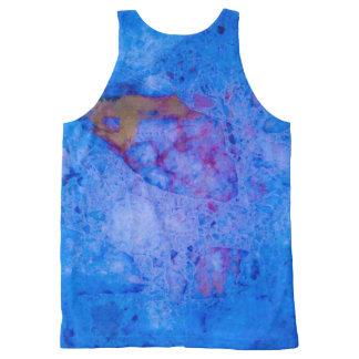 Blauw marmeren effect All-Over-Print tank top