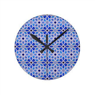 Blauw Marokkaans Geometrisch Patroon Ronde Klok