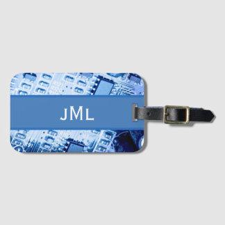 Blauw Motherboard Modern Patroon Kofferlabel