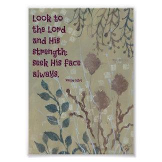 Blauw Onkruid met een Vers van de Bijbel Foto Afdruk