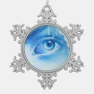 Blauw oog tin sneeuwvlok ornament