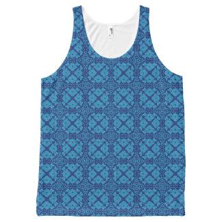 Blauw op Blauwe Bloemen Geometrische Patttern All-Over-Print Tank Top