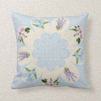 Blauw, paars & roze bloemhoofdkussen sierkussen