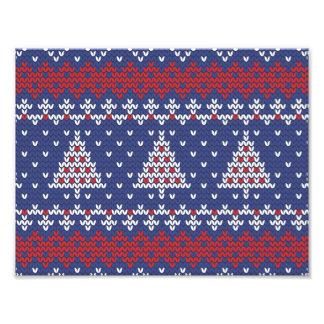 Blauw Rood en Wit Kerstboom Gebreid Patroon Foto Print