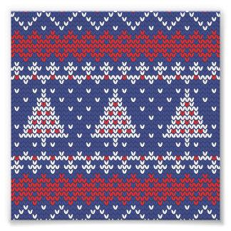 Blauw Rood en Wit Kerstboom Gebreid Patroon Fotoafdruk