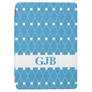 Blauw Rooster Argyle met monogram iPad Air Cover