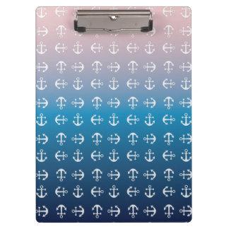 Blauw roze | zeevaart het ankerpatroon van de klembord