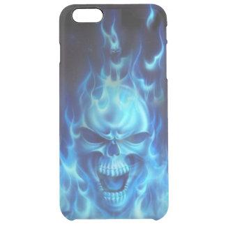 blauw schedelhoofd met vlammen stammen