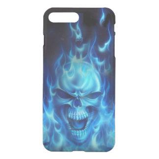 blauw schedelhoofd met vlammen stammen iPhone 7 plus hoesje