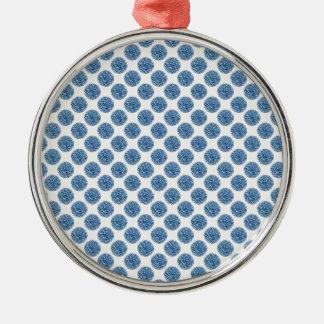 Blauw stip zilverkleurig rond ornament