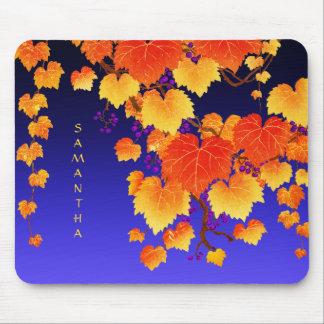 Blauw van de Bladgouden van de Herfst van de Muismat