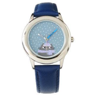Blauw van de Cartoon van de Sneeuw van de Winter Horloge