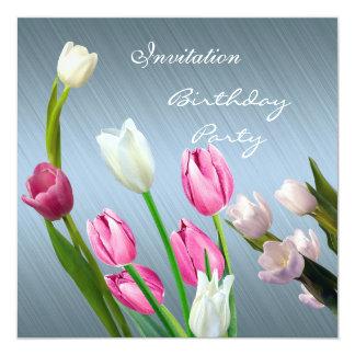 Blauw van de Tulpen van de Verjaardag vijftigste 13,3x13,3 Vierkante Uitnodiging Kaart