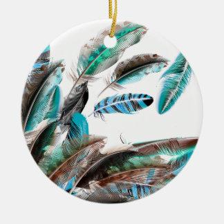 Blauw van het Collectie van veren het exotische Rond Keramisch Ornament
