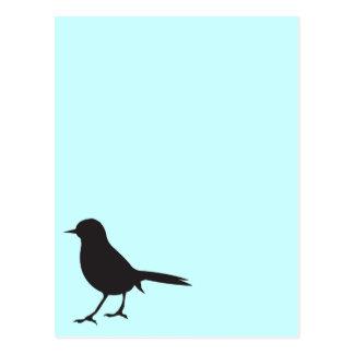 Blauw van het de vogel het zwarte & witte silhouet briefkaart
