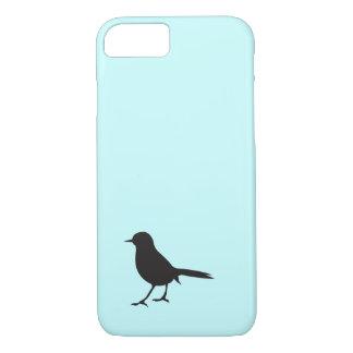 Blauw van het de vogel het zwarte & witte silhouet iPhone 7 hoesje