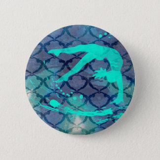Blauw van het Patroon van de turner het Stammen Ronde Button 5,7 Cm
