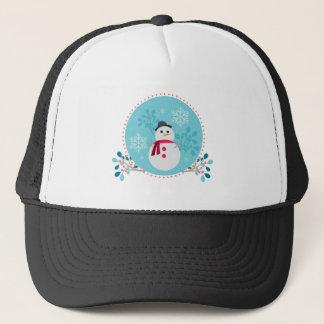 Blauw van Kerstmis van de sneeuwman het Leuke Trucker Pet