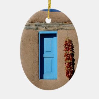 Blauw Venster van Taos Keramisch Ovaal Ornament