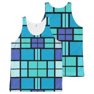 Blauw vensterontwerp All-Over-Print tank top