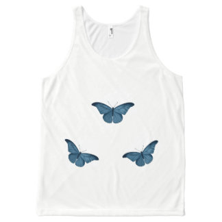 Blauw-vlinder-casual-vrouw-tank-bovenkant All-Over-Print Tank Top