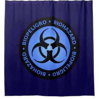 Blauw Waarschuwingssein Biohazard Douchegordijn