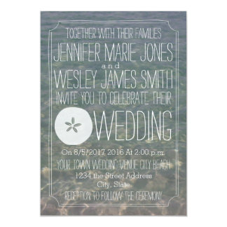 Blauw Water + Huwelijk van het Strand van de 12,7x17,8 Uitnodiging Kaart