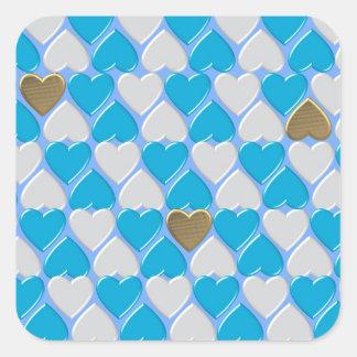 Blauw, wit Beiers patroon Vierkante Sticker